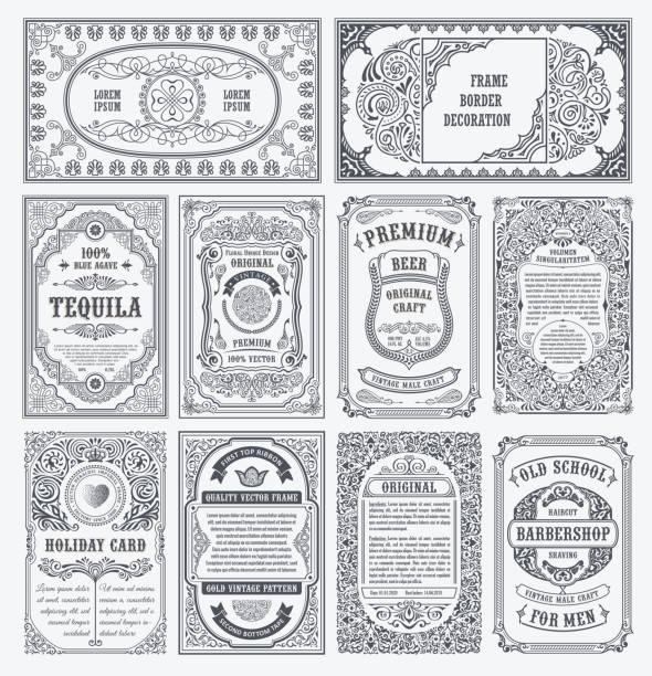 ilustrações, clipart, desenhos animados e ícones de vector vintage conjunto retrô cartões. fronteira de modelo cartão ou convite - antiguidades