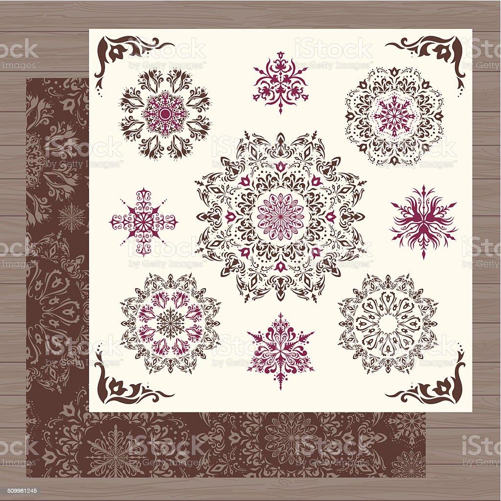 Vintage vector snowflakes royalty-free stock vector art