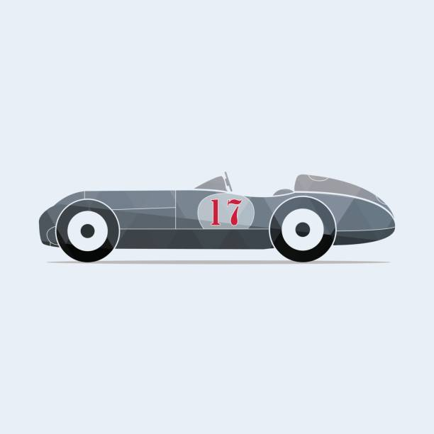 vintage vector sport racing car with the number seventeen. - formula 1 stock illustrations