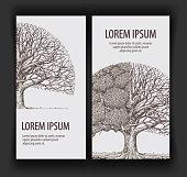Vintage vector tree. Design template banner ecology, nature, forest