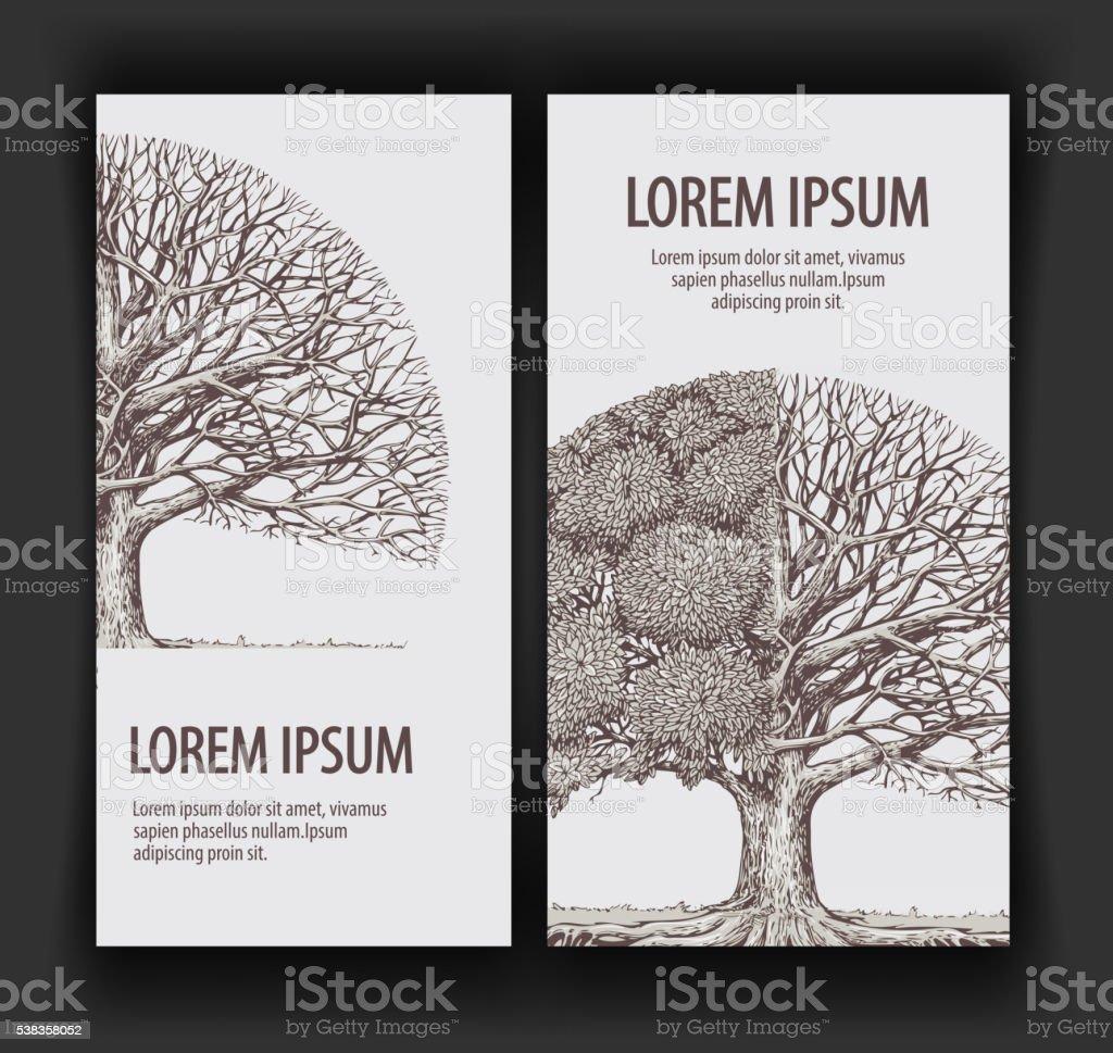 Vector vintage de árbol. Plantilla de diseño de bandera ecología, naturaleza, el bosque - ilustración de arte vectorial