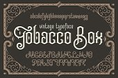 """Vintage vector typeface named """"Tobacco Box"""" with a beautiful decorative frame"""