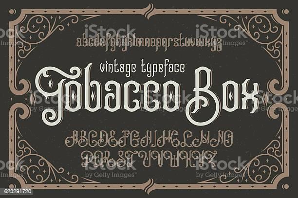 Vintage vector typeface named tobacco box with a beautiful dec vector id623291720?b=1&k=6&m=623291720&s=612x612&h=3pvj  t7w7 qhzwseawhczcmph1yeyr82eknd1suu1u=