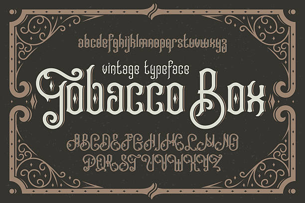 """Vintage vector typeface named """"Tobacco Box"""" with a beautiful dec Vintage vector typeface named """"Tobacco Box"""" with a beautiful decorative frame alphabet borders stock illustrations"""