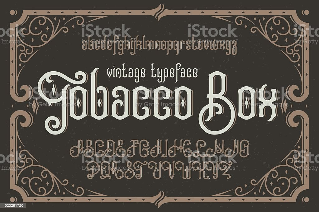 Vintage vector typeface named 'Tobacco Box' with a beautiful dec vector art illustration