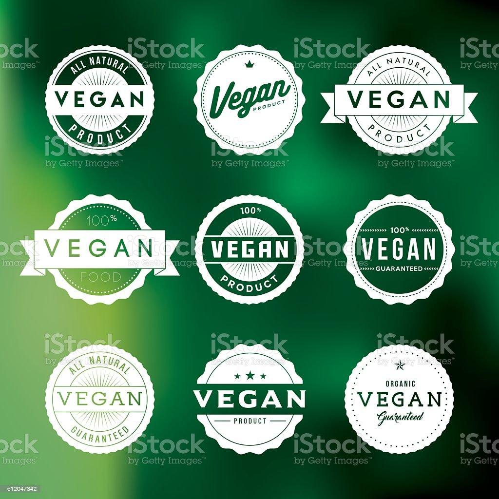 Vintage Vegan Food Labels Icon Set vector art illustration