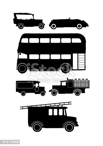 collection of vintage vintage vehicle silhouettes
