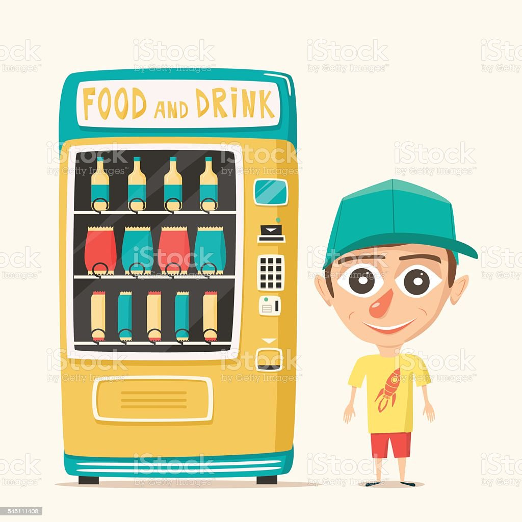 Vintage vending machine with drinks. Retro style. Purchase of water vector art illustration