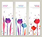 Vintage vertical banners set with watercolor tulips and leaves. Vector illustration. Cute flyers for Mothers day design
