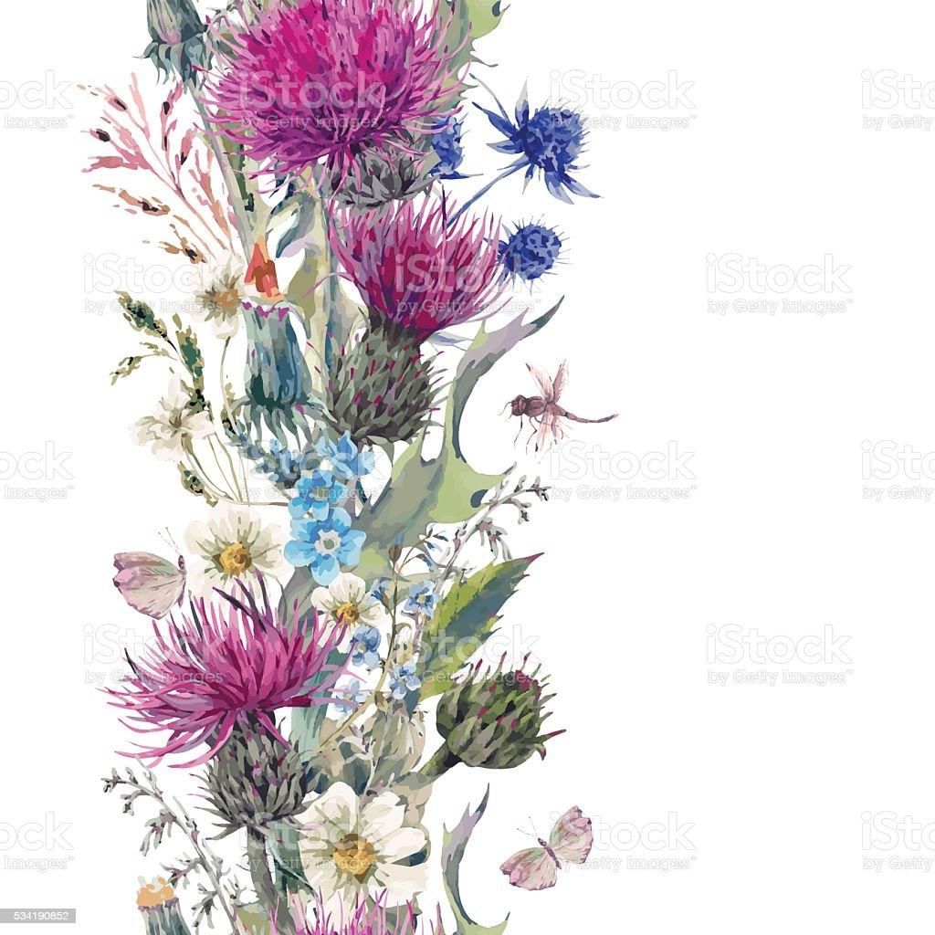 Jahrgang vertikale herbal nahtlose Grenze mit blühenden Wiese Flo – Vektorgrafik