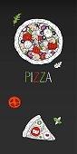 Vintage vertical pizza banner on black background. Vector outline pizza menu