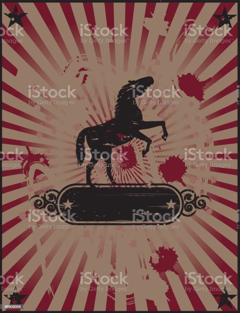 Vintage vertical wild horse royalty-free stock vector art