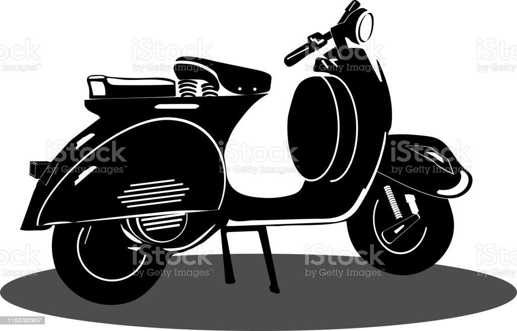 Vintage Vespa Scooter Black Icon Vector On White Background Vespa