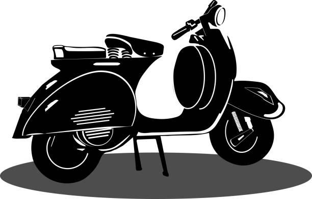 Vintage Vespa scooter black icon vector on white background, Vespa icons for Transportation and Vintage motorbike vector art illustration