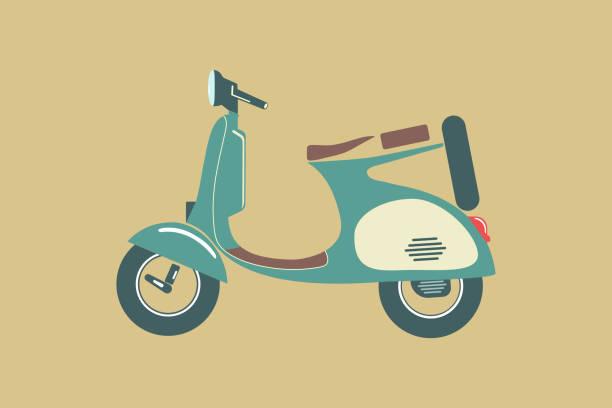 Vintage Vespa scooter vintage color  icon vector on color background, Vespa icons for Transportation and Vintage motorbike vector art illustration