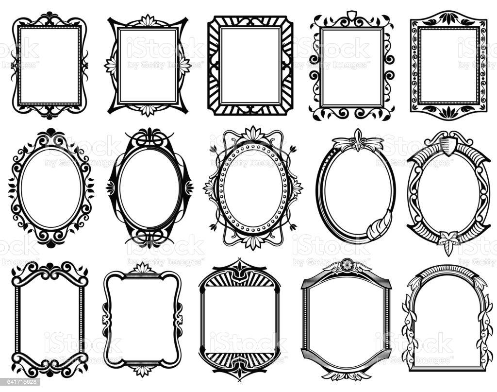 Vintage victorian, baroque, rococo frame for mirror, menu, card design vector collection vector art illustration