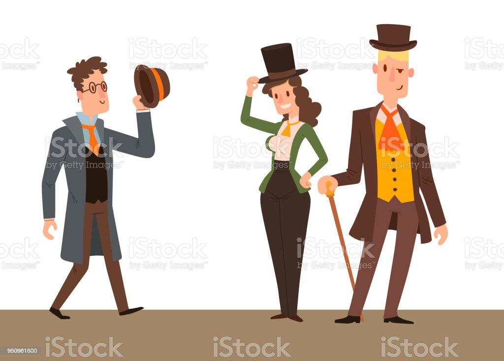 Gente retro de época victoriana dibujos animados caballeros del vector.  Estilo moda viejo pueblo victoriano 15731de0c6c