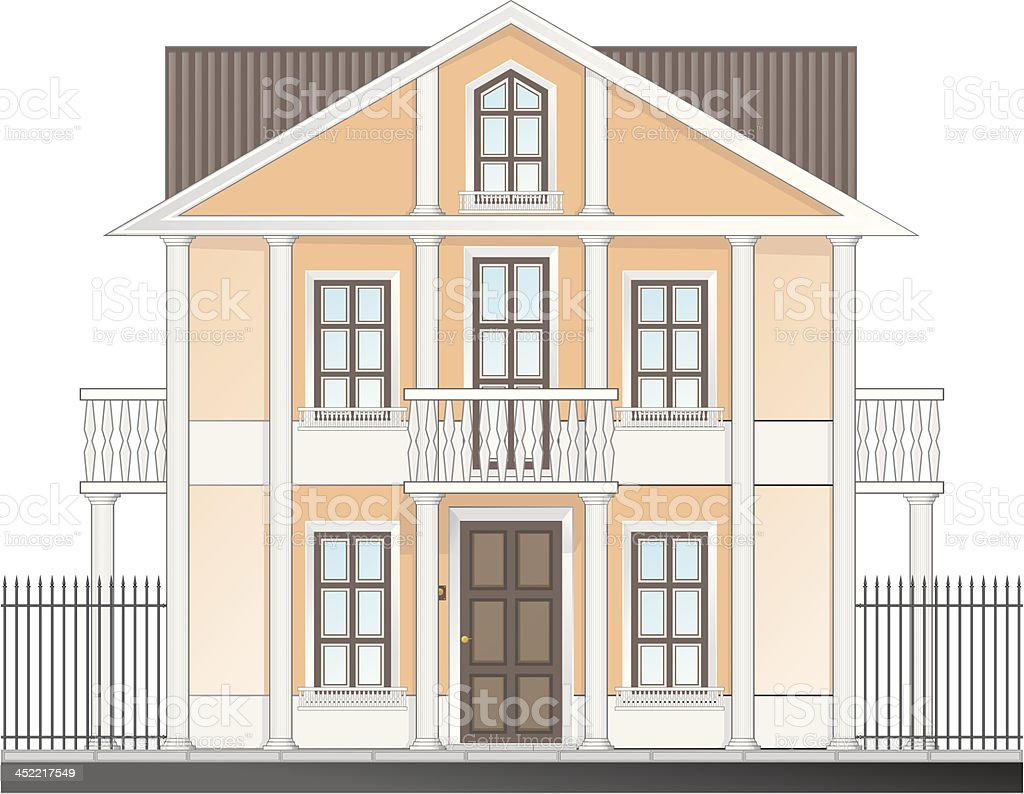 vintage victorian house isolated on white background royalty-free stock vector art