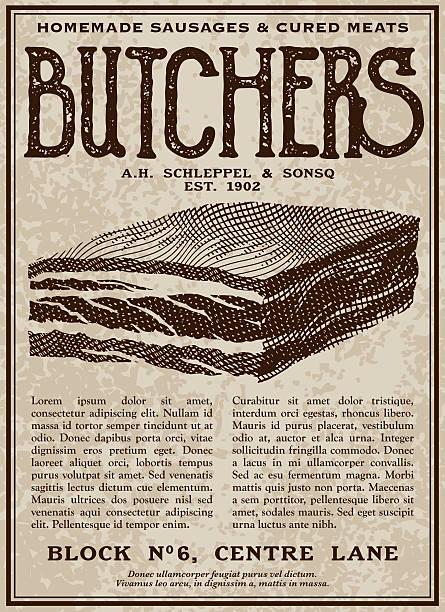 vintage victorian style butcher advertisement - schweinebauch stock-grafiken, -clipart, -cartoons und -symbole