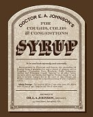 A vector illustration of an old fashioned medicine label in a Victorian style of typography. Decorative typefaces are mixed together to create the design. Download includes AI10 EPS and a high resolution JPEG file.