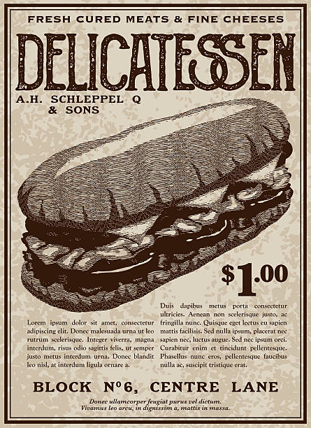 Vintage Victorian Style Delicatessen Advertisement - ilustración de arte vectorial