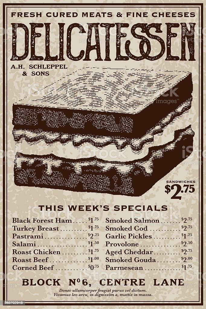 Vintage Victorian Style Delicatessen Advertisement vector art illustration