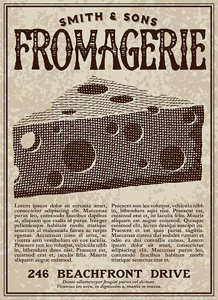 Vintage Victorian Style Fromagerie Cheese Shop Advertisement - ilustración de arte vectorial
