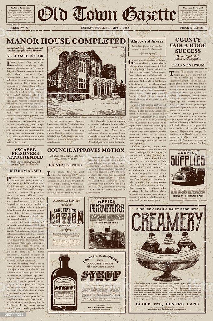 Vintage Victorian Style Newspaper Design Template - ilustração de arte em vetor
