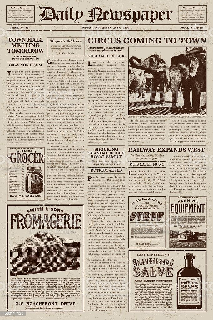 Vintage victorian style newspaper design template stock for Old fashioned newspaper template free