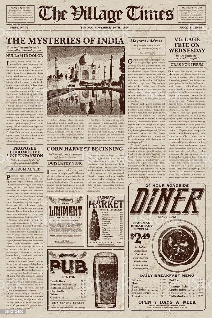 Old Fashioned Newspaper Template Free Design Of Old Vintage