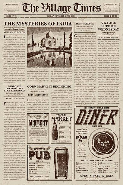 ilustraciones, imágenes clip art, dibujos animados e iconos de stock de vintage victorian style newspaper design template - comida india