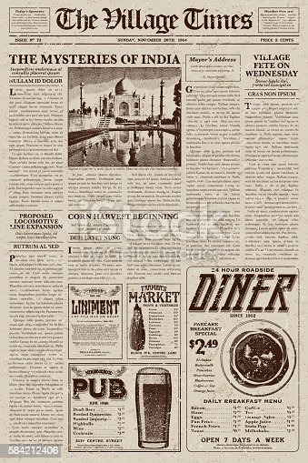 vintage victorian style newspaper design template stock