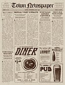 A vector illustration of an old fashioned newspaper in a Victorian style of typography. Decorative typefaces are mixed together to create the design. Download includes AI10 EPS and a high resolution JPEG file.