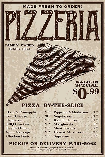 vintage victorian style pizzeria advertisement - junk food stock illustrations, clip art, cartoons, & icons