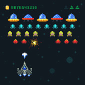 Vintage video space arcade game vector pixel design with spaceship shooting bullets and aliens. Old retro pop pixel video game with galaxy monsters illustration