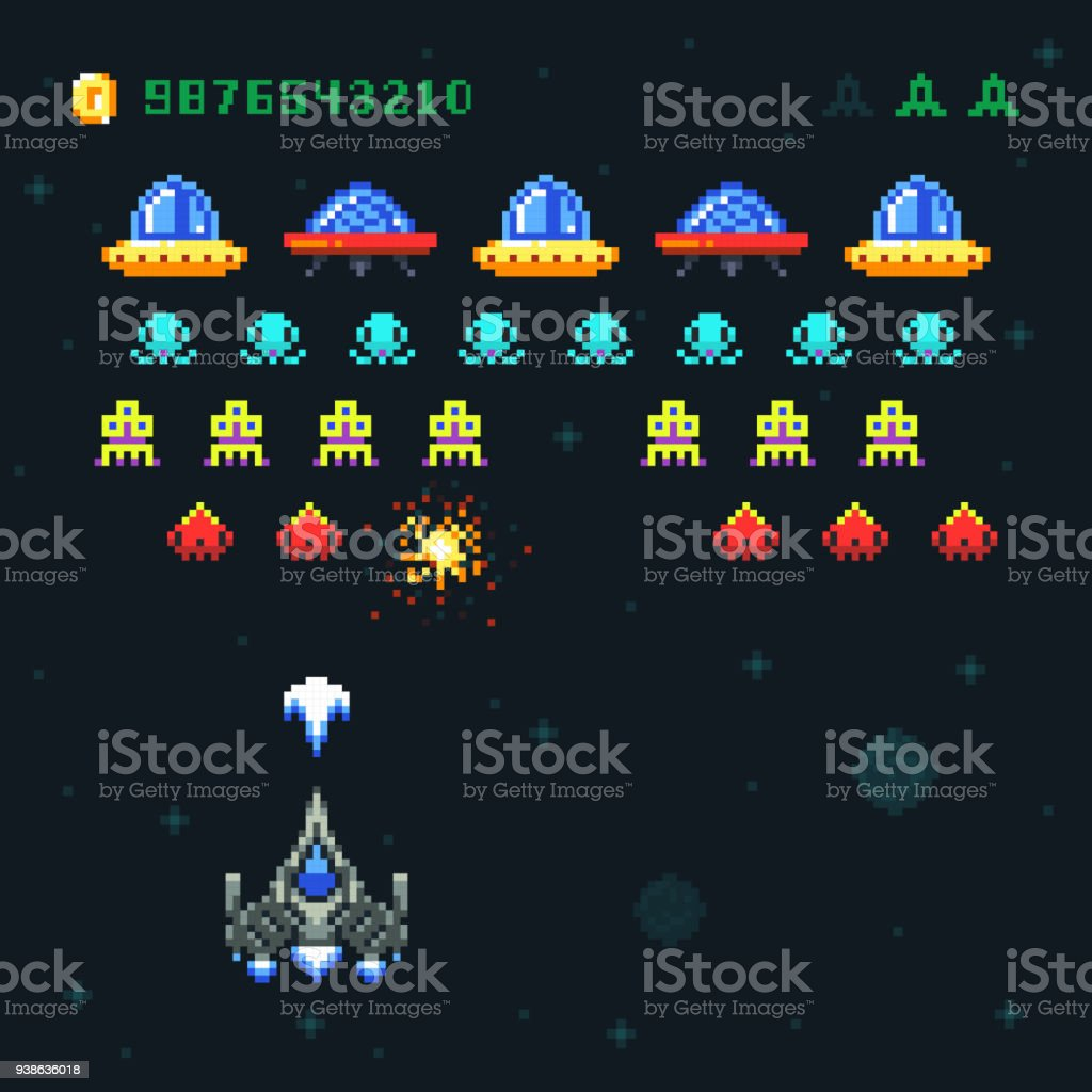 Vintage video space arcade game vector pixel design with spaceship shooting bullets and aliens vector art illustration