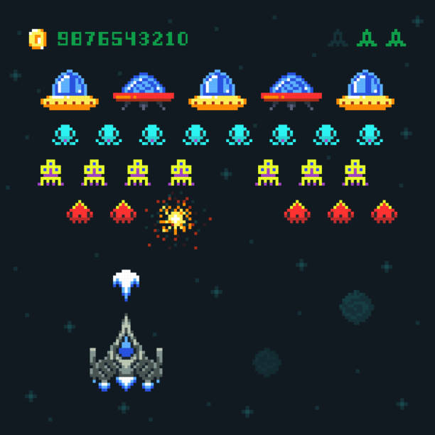 Vintage video space arcade game vector pixel design with spaceship shooting bullets and aliens Vintage video space arcade game vector pixel design with spaceship shooting bullets and aliens. Old retro pop pixel video game with galaxy monsters illustration leisure games stock illustrations