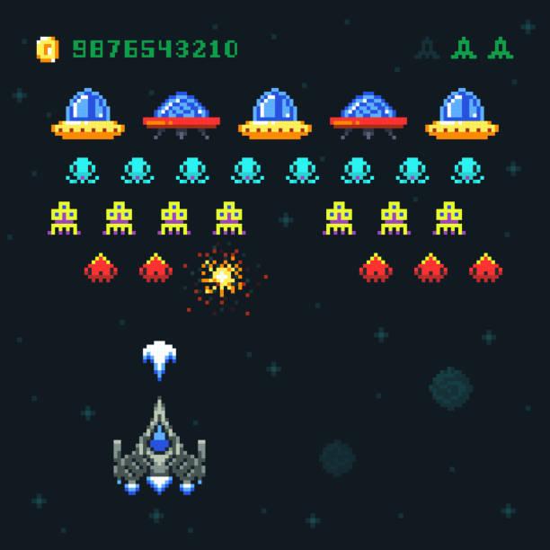 stockillustraties, clipart, cartoons en iconen met vintage video ruimte arcade spel vector pixel design met ruimteschip schieten kogels en vreemdelingen - buitenaards wezen