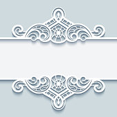Vintage lace frame, decorative vignette with cutout paper swirls, ornate border decoration for laser cutting or wood carving