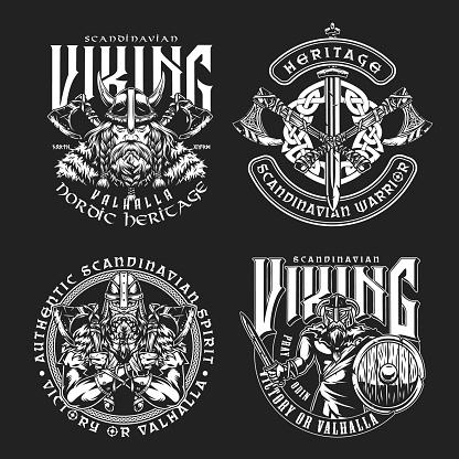 Vintage viking monochrome labels