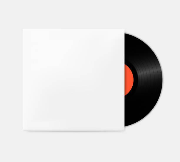 vintage vinyl-schallplatten aus dem feld vorlage. leere grammophon abdeckung modell. - schallplatte stock-grafiken, -clipart, -cartoons und -symbole