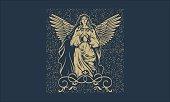 Vintage Virgin Mary Illustration