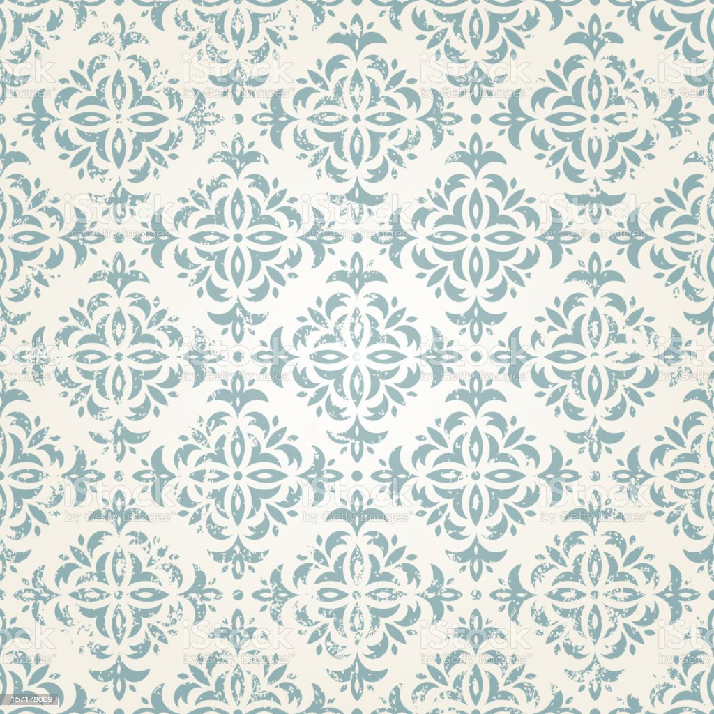 A Vintage Wallpaper Pattern In Light Green On Off White Royalty Free