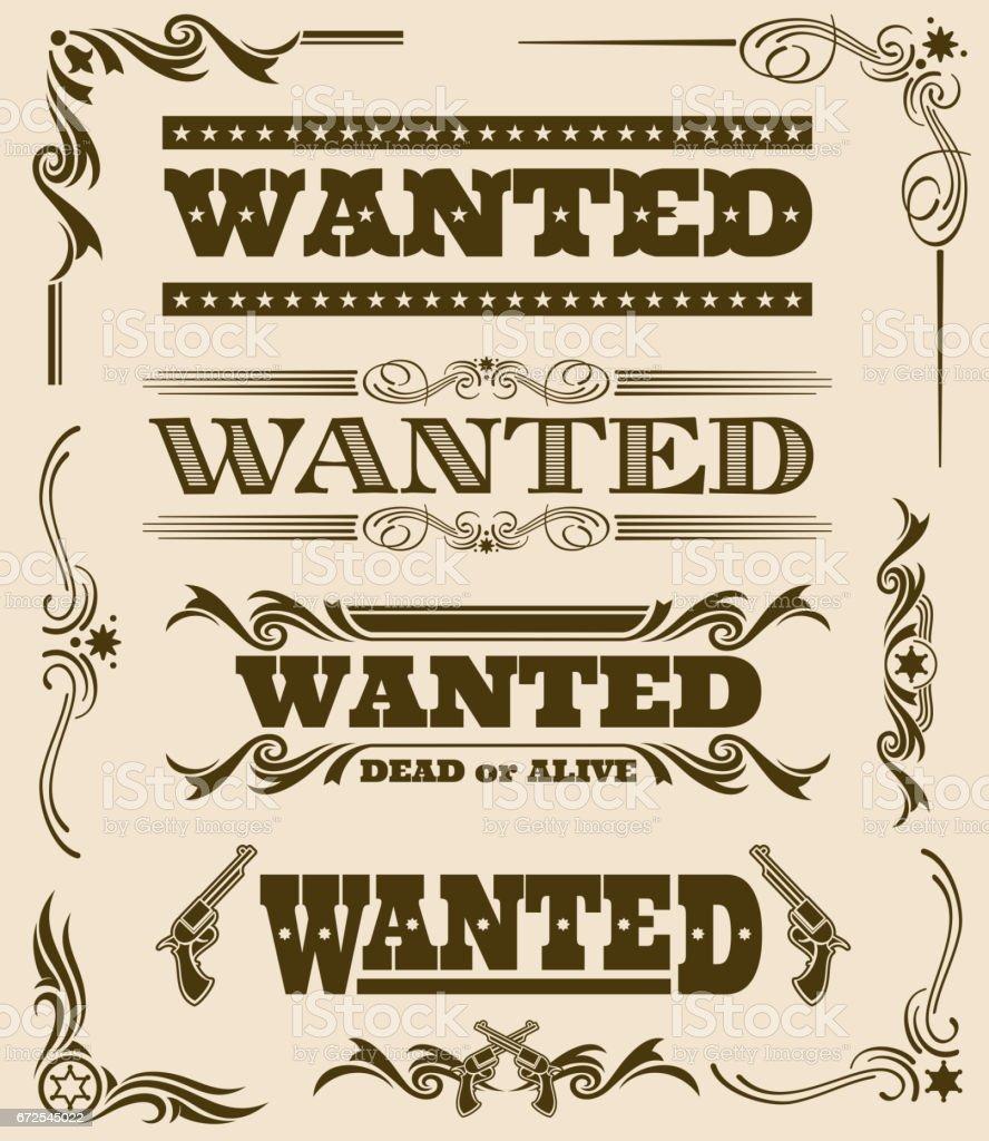 Vintage wanted dead or alive western poster vector frame ornament elements vector art illustration
