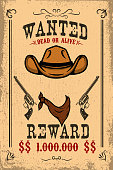 Vintage wanted poster template with old paper texture background. Wild west theme.
