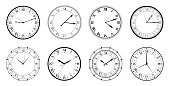 Vintage watch. Set of different watches. Watch set. Time. Any watch to choose from. Vector graphics on a white background in a flat style.