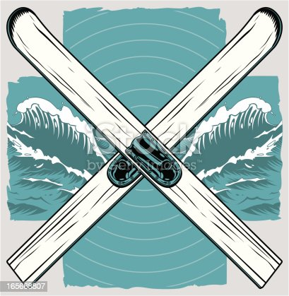 A pair of vintage wooden water skis, crossed over a stylized waves background