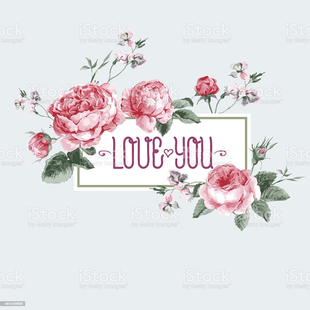 Vintage Watercolor Greeting Card with Blooming English Roses vector art illustration