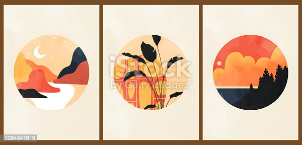 A set of three colorful aesthetic backgrounds. Minimalist social media posters in pastel colors.