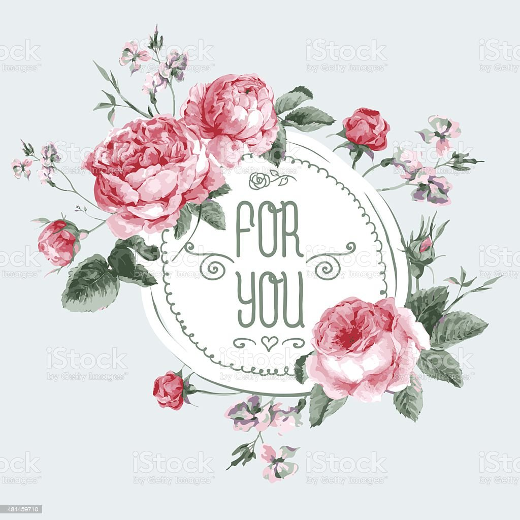 Vintage Watercolor Round Frame with Blooming English Roses vector art illustration